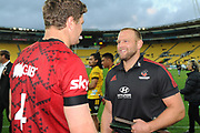 Crusaders Joe Moody speaks to Scott Barrett following his 100th Super Rugby match, Hurricanes v Crusaders, Sky Stadium, Wellington, Sunday, April 11, 2021. Copyright photo: Kerry Marshall / www.photosport.nz