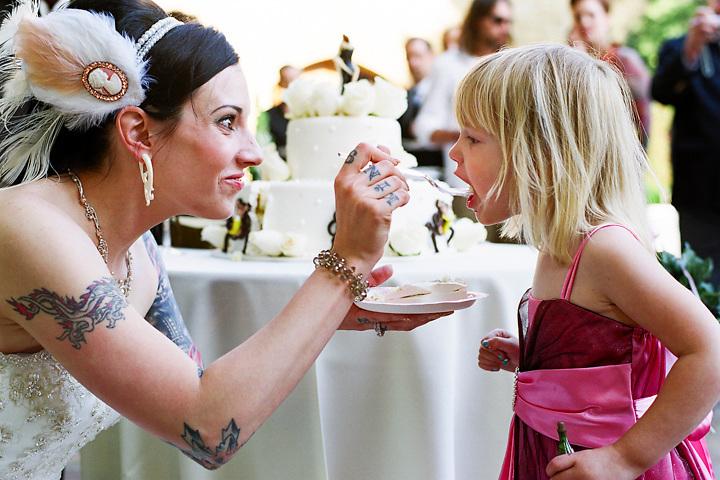 Nicole feeds Josie some cake