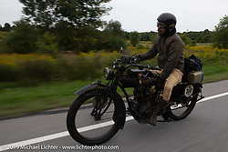 Shinya Kimura made his fifth attempt to cross the entire country riding his 1915 Indian on the Motorcycle Cannonball coast to coast vintage run. Stage-2 (251-miles) from Keene, NH to Binghampton, NY. Sunday September 9, 2018. Photography ©2018 Michael Lichter.