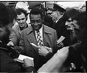 Pelé greeted upon arrival at the Dublin Airport by reporters and fans..May 1979