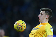 Jordan Hugill of Preston North End in action. EFL Skybet championship match, Cardiff city v Preston North End at the Cardiff city stadium in Cardiff, South Wales on Friday 29th December 2017.<br /> pic by Andrew Orchard, Andrew Orchard sports photography.