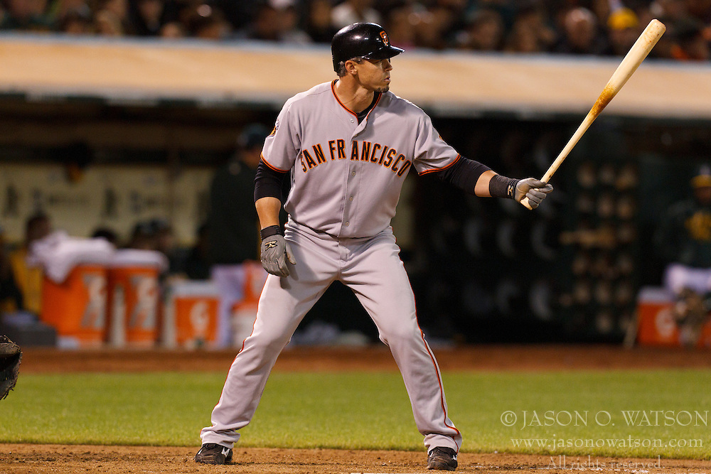 June 18, 2011; Oakland, CA, USA;  San Francisco Giants catcher Eli Whiteside (22) at bat against the Oakland Athletics during the eighth inning at the O.co Coliseum.  Oakland defeated San Francisco 4-2.