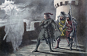 William Shakespeare: Hamlet, Act l, Sc. IV. Hamlet seeing his father's ghost on the battlements of Elsinore Castle.  Illustration by Robert Dudley (active 1858-1893) published London 1856-1858. Chromolithograph.