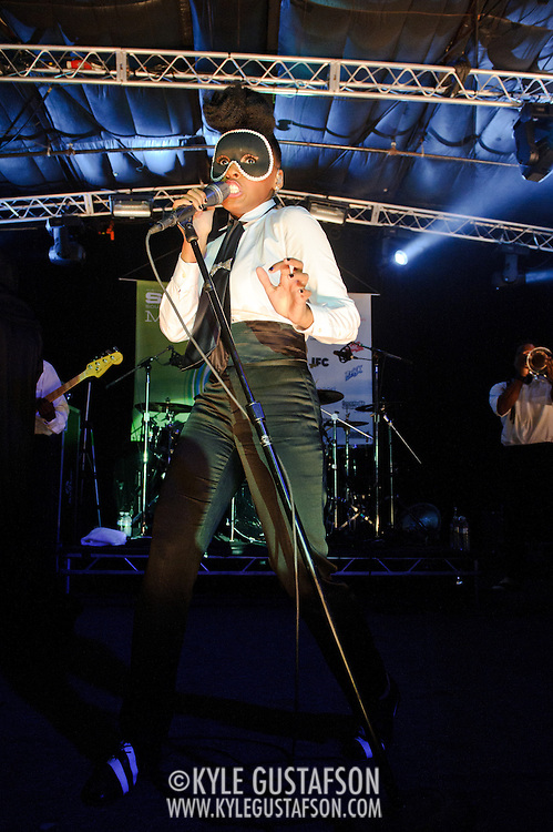 AUSTIN, TX - March 18th: Janelle Monae performs material from her album The Archandroid at the Atlantic Records showcase at La Zona Rosa as part of the 2011 South by Southwest Festival. (Photo by Kyle Gustafson)