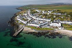 Aerial view of village of Port Charlotte on coast of Isle of Islay, Argyll & Bute, Inner Hebrides, Scotland, UK