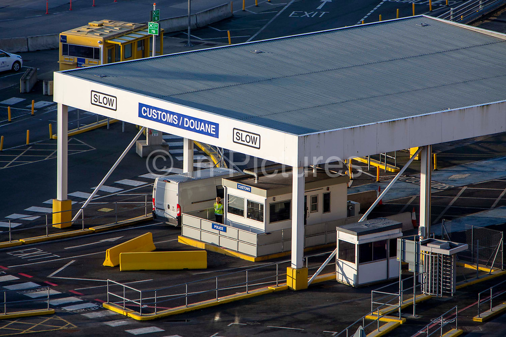 The UK police customs check for everyone arriving into the Eastern Dock of the Port of Dover where the cross channel port is situated with ferries departing here to go to Calais in France on the 29th of January 2020 in Dover, Kent, United Kingdom. Dover is the nearest port to France with just 34 kilometres 21 miles between them. It is one of the busiest ports in the world. As well as freight container ships it is also the main port for P&O and DFDS Seaways ferries.