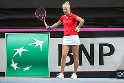 February 7, 2019 - Zielona Gora, Poland - Clara Tauson (DEN) during Tennis 2019 Fed Cup by Paribas Europe/Africa Zone Group 1  match between Russia and Denmark  in Zielona Gora, Poland, on February 7, 2019. (Credit Image: © Foto Olimpik/NurPhoto via ZUMA Press)