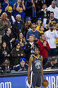 Golden State Warriors forward Kevin Durant (35) holds onto the ball during the final seconds of game play against the LA Clippers at Oracle Arena in Oakland, California, on February 22, 2018. (Stan Olszewski/Special to S.F. Examiner)