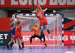 KOLDING, DENMARK - DECEMBER 5: Aleksandra Rosiak shoots during the EHF Euro 2020 Group D match between Poland and Romania in Sydbank Arena, Kolding, Denmark on December 5, 2020. Photo Credit: Allan Jensen/EVENTMEDIA.