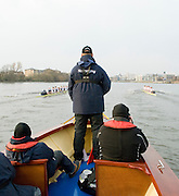 London, Great Britain. Oxford, OUBC [Blue Boat] v. Leander Club, view from the Umpires Launch, as Leander continue to lead,  Pre Boat race fixture over the Championship Course  River Thames. Single race piece - Putney to Chiswick Pier.  on Saturday  12/03/2011 [Mandatory Credit; Karon Phillips/Intersport Images]..Crews:.Oxford OUBC: Bow Moritz HAFNER, Ben MYERS, Dave WHIFFIN,  Ben ELLISON,  Karl HUDSPITH,  Alec DENT,  George WHITTAKER, Stroke Constantine LOULOUDIS, Cox Sam WINTER-LEVY. ..Leander: Bow Oliver HOLT,  Will GRAY,  Graham HALL,  John CLAY,  James ORME,  Tom CLARK,  Ben DUGGAN, Stroke David LAMBOURN, Cox Alex OLIJNYK..