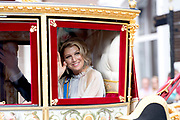 Op Prinsjesdag 2018 spreekt het staatshoofd in de Staten-Generaal van het Koninkrijk der Nederlanden in verenigde vergadering bijeen de troonrede uit. Daarin geeft de regering aan wat het regeringsbeleid zal zijn voor het komende jaar. <br /> <br /> On State Opening of Parlement (Prinsjesdag) 2018, the head of state in the States-General of the Kingdom of the Netherlands meets in a joint meeting the speech of the throne. In it, the government indicates what the government policy will be for the coming year.<br /> <br /> op de foto / On the photo:  Koningin Maxima / Queen Maxima