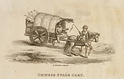 Chinese stage coach. Engraving, 1812.
