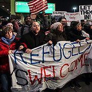 Droves of protesters made their way to JFK to protest an travel ban implemented by the Trump Administration on January 26, 2017. By the end of the evening the ban was struck down by a federal judge in Brooklyn.