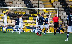 Raith Rovers John Baird scoring their first half goal. half time : Livingston 0 v 1 Raith Rovers, William Hill Scottish Cup played 18/1/2020 at the Livingston home ground, Tony Macaroni Arena.