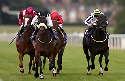 Judicial ridden by Graham Lee (second right) wins The British EBF Conditions Stakes at Beverley Racecourse.