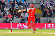 Arron Lilley of Lancashire hits the ball to the boundary for four runs during the Vitality T20 Finals Day Semi Final 2018 match between Worcestershire Rapids and Lancashire Lightning at Edgbaston, Birmingham, United Kingdom on 15 September 2018.