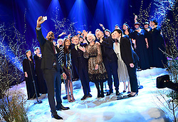 (Front left to right) Will Smith, Naomie Harris, Martin Freeman, Dame Helen Mirren, Graham Norton, Katie Melua, and the Gori Women's Choir appearing on the Graham Norton Show filmed at the London Studios. London, which will be transmitted on BBC One on December 23.