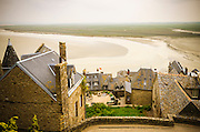 Rooftops and bay, Mont Saint-Michel, Normandy, France