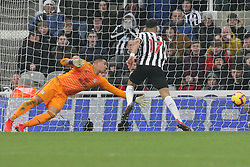 January 19, 2019 - Newcastle, England, United Kingdom - Newcastle United's Ayoze Perez scoring his side's third goal during the Premier League match between Newcastle United and Cardiff City at St. James's Park, Newcastle on Saturday 19th January 2019. (Credit Image: © Mark Fletcher/NurPhoto via ZUMA Press)