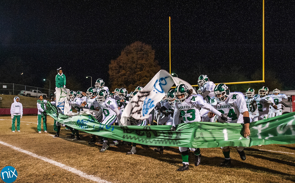 Kannapolis gets ready to take the field against Charlotte Catholic in the third round of the NCHSAA playoffs Friday night in Charlotte. Catholic won the game 49-18. (photo by James Nix)