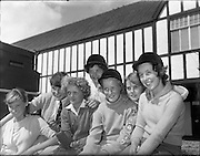 01/08/1960<br /> 08/01/1960<br /> 01 August 1960<br /> R.D.S Horse Show Dublin (Monday). Watching arrivals at the Show with interest, (l-r): Wendy Marsh (Warrenpoint); Enda Falloon (Warrenpoint); Pat Tecey (Whiteabbey); Jenifer Smith (Whitehorse); Cynthia Mac Henry (Whiteabbey); Norma Mawhinney (Whitehouse) and Pat Beldon (Whiteabbey).