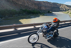 Bill Buckingham riding his 1923 Harley-Davidson J model custom chopper (that won top honors at Born Free 6) on Interstate-70 near Grand Junction, Colorado during Stage 10 (278 miles) of the Motorcycle Cannonball Cross-Country Endurance Run, which on this day ran from Golden to Grand Junction, CO., USA. Monday, September 15, 2014.  Photography ©2014 Michael Lichter.