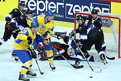 20.04.2016, Dom Sportova, Zagreb, CRO, IIHF WM, Ukraine vs Estland, Division I, Gruppe B, im Bild Andrei Mikhnov, Maksim Robushkin, Lauri Lahesalu // during the 2016 IIHF Ice Hockey World Championship, Division I, Group B, match between Ukraine and Estonia at the Dom Sportova in Zagreb, Croatia on 2016/04/20. EXPA Pictures © 2016, PhotoCredit: EXPA/ Pixsell/ Goran Stanzl<br /> <br /> *****ATTENTION - for AUT, SLO, SUI, SWE, ITA, FRA only*****