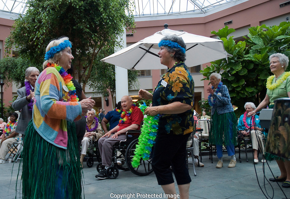 Hawaiian party in Residential retirement home
