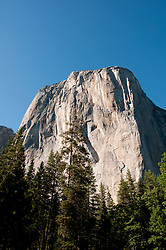 Closeup of El Capitan from Yosemite Valley, Yosemite National Park, California, USA.  Photo copyright Lee Foster.  Photo # california120800