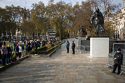 © Licensed to London News Pictures. 08/11/2020. London, UK. Members of the public gather in Parliament Square to take part in a minute's silence as part of Remembrance Sunday . Photo credit: George Cracknell Wright/LNP