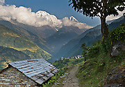 """The south face of Annapurna South (23,684 feet /  7219 meters) rises high above rice terraces and buildings in Nepal.  Annapurna South (also known as Annapurna Dakshin, or Moditse) was first climbed in 1964 by a Japanese expedition, via the North Ridge. Annapurna is Sanskrit for """"Goddess of the Harvests."""" In Hinduism, Annapurna is a goddess of fertility and agriculture and an avatar of Durga."""