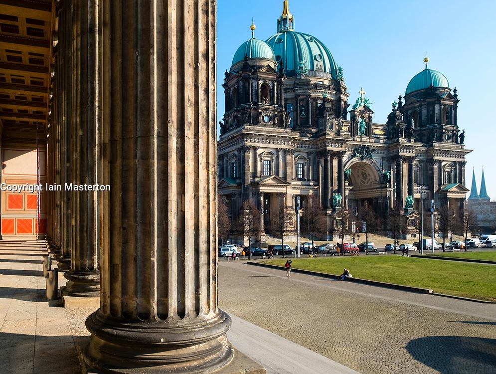 View of Berlin Cathedral, Berliner Dom, on Lustgarten on Museum Island (Museumsinsel) in Mitte, Berlin, Germany