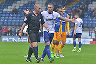 Peter Clarke protests during the Pre-Season Friendly match between Bury and Preston North End at Gigg Lane, Bury, England on 1 August 2015. Photo by Mark Pollitt.