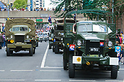 Studebaker and other old army trucks during Brisbane ANZAC day 2005 parade <br /> <br /> Editions:- Open Edition Print / Stock Image