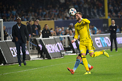 November 5, 2017 - Bronx, New York, U.S - Columbus Crew defender JOSH WILLIAMS (3) heads the ball over New York City FC midfielder JACK HARRISON (11) during leg 2 of the Eastern Conference Semifinal at Yankee Stadium, Bronx, NY.  NYCFC defeats Columbus Crew 2-0.  Columbus wins 4-3 on aggregate. (Credit Image: © Mark Smith via ZUMA Wire)