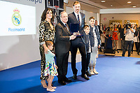 """Andres """"El Chapu"""" Nocioni with his wife and sons and Real Madrid's president, Florentino Perez during the appearance of retirement as profesional basketball player at Stadium Santiago Bernabeu in Madrid, Spain. April 04, 2017. (ALTERPHOTOS/BorjaB.Hojas)"""