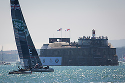 © Licensed to London News Pictures. 23/07/2016. Portsmouth, United Kingdom.  Team Land Rover BAR (GBR) competing in the first day of racing for the America's Cup World Series (ACWS) in Portsmouth this weekend, 22nd-24th July 2016. British Olympic sailing legend, Sir Ben Ainslie, is leading his all-British team, Land Rover BAR, against other teams in a battle to qualify for a place in the two team America's Cup final, to be held in Bermuda in 2017. Photo credit: Rob Arnold/LNP