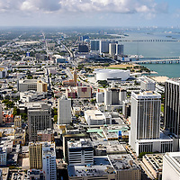 Aerial view north over the center core of downtown Miami, Florida.  American Airlines Arena is visible upper center right of image.