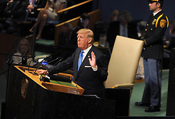 Donald Trump speaks at The United Nations in New York City.