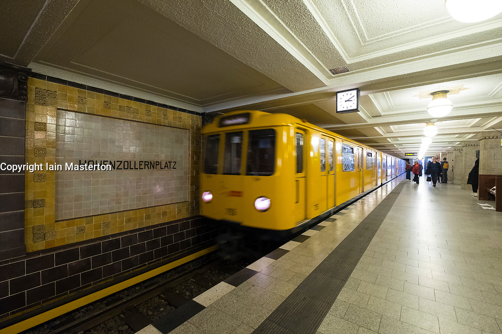 Train at Hohenzollernplatz U-Bahn underground railway station in Berlin, Germany