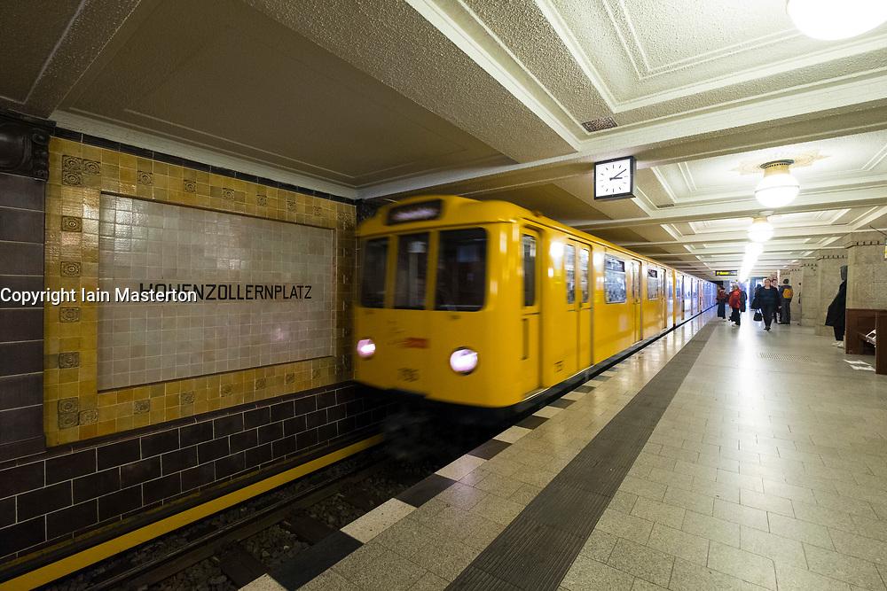 Train at Hohenzollernplatz U-Bahn underground railway station in Berlin, Germany
