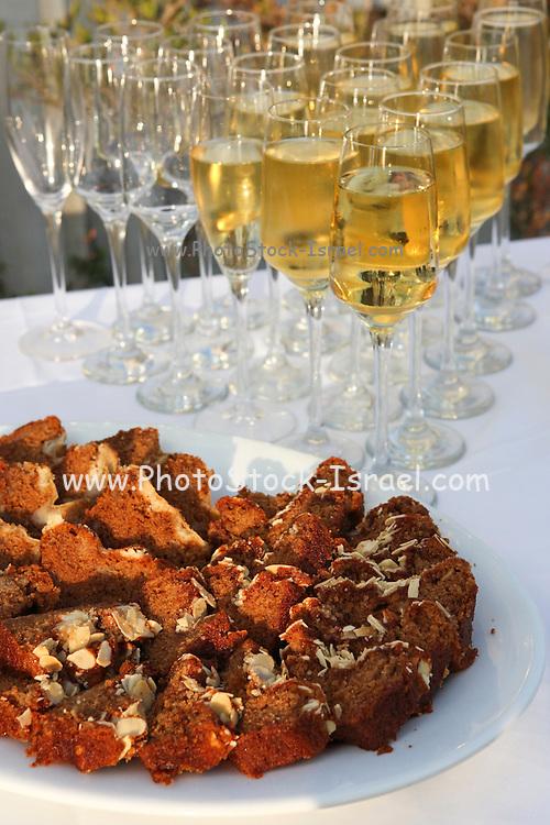 Jewish Rosh Hashanah toast with honey cake and wine