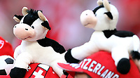 GEPA-1106086060 - BASEL,SCHWEIZ,11.JUN.08 - FUSSBALL - UEFA Europameisterschaft, EURO 2008, Schweiz vs Tuerkei, SUI vs TUR. Bild zeigt ein Feature mit Pluesch-Kuehen. <br />Foto: GEPA pictures/ Philipp Schalber