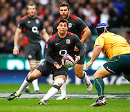 Ben Youngs of England passes the ball in front of Benn Robinson of Australia during the Investec series international between England and Australia at Twickenham, London, on Saturday 13th November 2010. (Photo by Andrew Tobin/SLIK images)