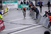 Belgium, Sunday 13th December 2015: Wout Van Aert leads the race up the Raidillon corner climb during the elite men's race at the Hansgrohe Superprestige cyclocross event at Spa Francorchamps.<br /> <br /> Copyright 2015 Peter Horrell