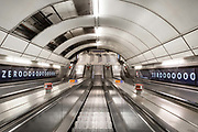 The escalator at Bank Station is empty in what would normally be the morning rush hour in the City of London on March 17th, 2020. The financial district of the UK is unusually quiet after the government requested people to refrain from all but essential travel and activities yesterday.