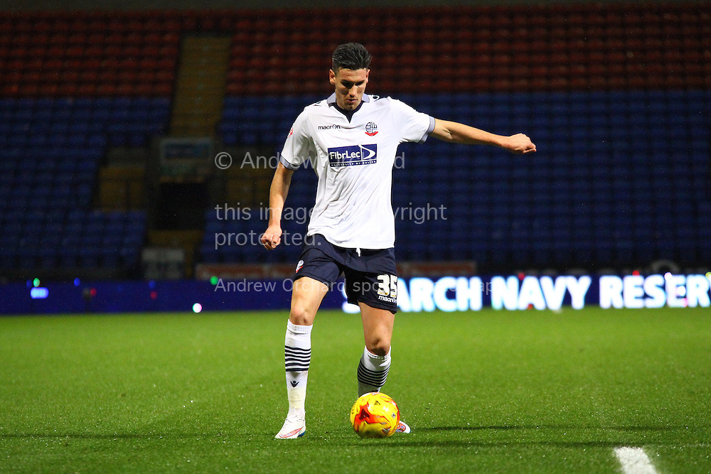 Conor Wilkinson of Bolton Wanderers on the ball. Skybet football league championship match, Bolton Wanderers v Ipswich Town at the Macron stadium in Bolton, Lancs on Saturday 13th December 2014.<br /> pic by Chris Stading, Andrew Orchard sports photography.