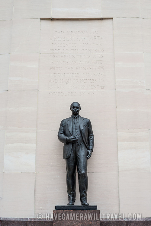 The Robert A. Taft Memorial and Carillon is dedicated to the former U.S. Senator and son of President William Howard Taft. It was designed by architect Douglas W. Orr and consists of a bronze statue of the senator against a 100-foot high tower that forms the Carillon. It is located a block away from the U.S. Capitol on Constitution Avenue in Washington DC.