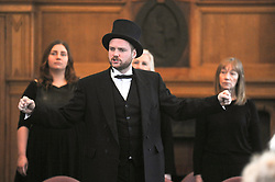 Andrew Carnegie's great-great-great grandson Joe Whiteman sings a song from the musical<br /> <br /> (c) David Wardle | Edinburgh Elite media