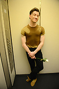 MANHATTAN, NEW YORK, OCTOBER 19, 2016 Alban Lendorf, the newest male principal at ABT, is seen after his debut performance with the company, performing two ballets, Symphonic Variations and The Brahms Haydn Variations, at the Koch Theater in Lincoln Center in Manhattan, NY.  Lendorf is seen in an elevator with his rose that he received after the performance. 10/19/2016 Photo by ©Jennifer S. Altman/For The New York Times